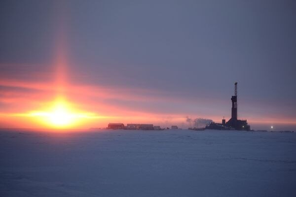 A drilling rig drills appraisal wells at the Nuna project on the North Slope. (Judy Patrick / Caelus Energy Alaska)