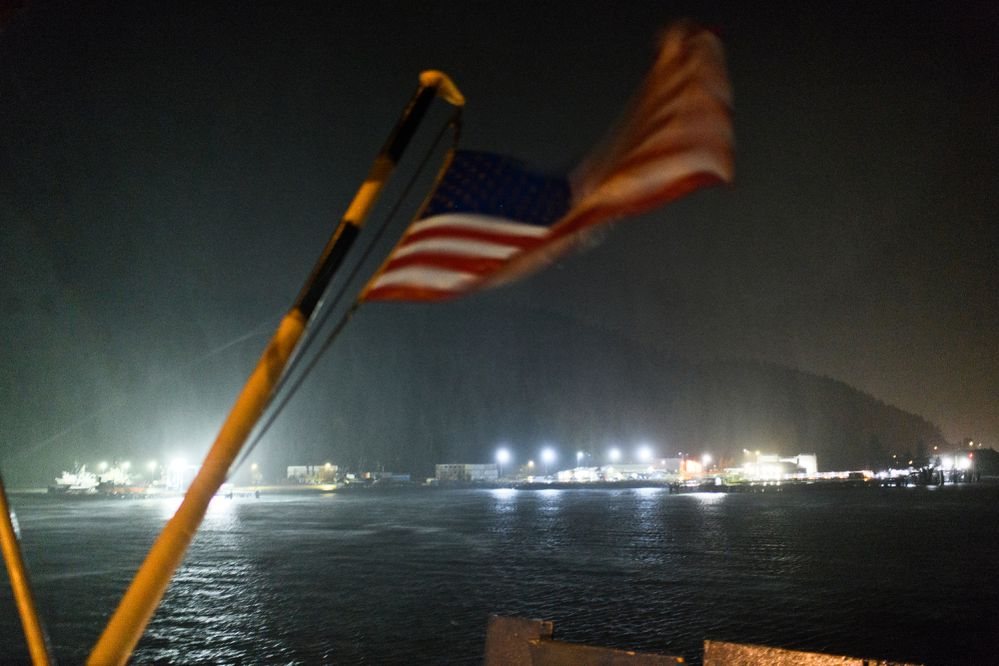 The Alaska Marine Highway ferry Aurora departs Cordova in the wind and rain on September 18, 2019. (Marc Lester / ADN)