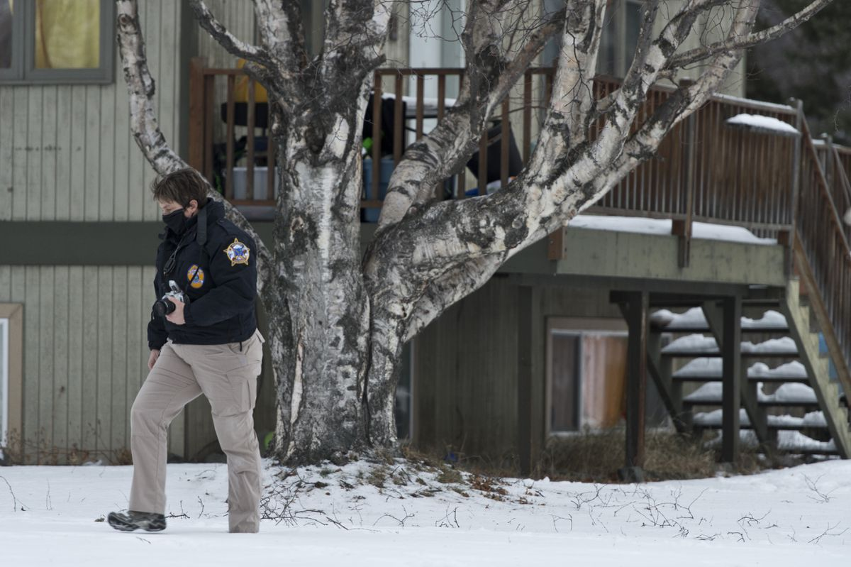 Alaska State Troopers investigated a fatal shooting scene at a home on North Valley Way in Palmer on November 30, 2020. (Marc Lester / ADN)
