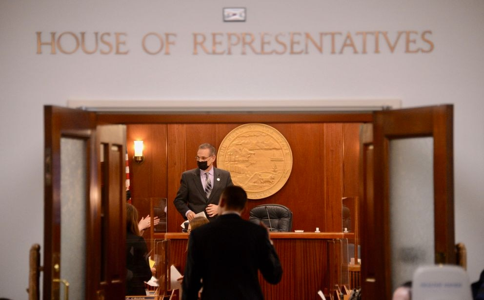 Lt. Gov. Kevin Meyer takes the dais in the Alaska House of Representatives as a leadership deadlock continued on Monday, Feb. 1, 2021. (James Brooks / ADN)