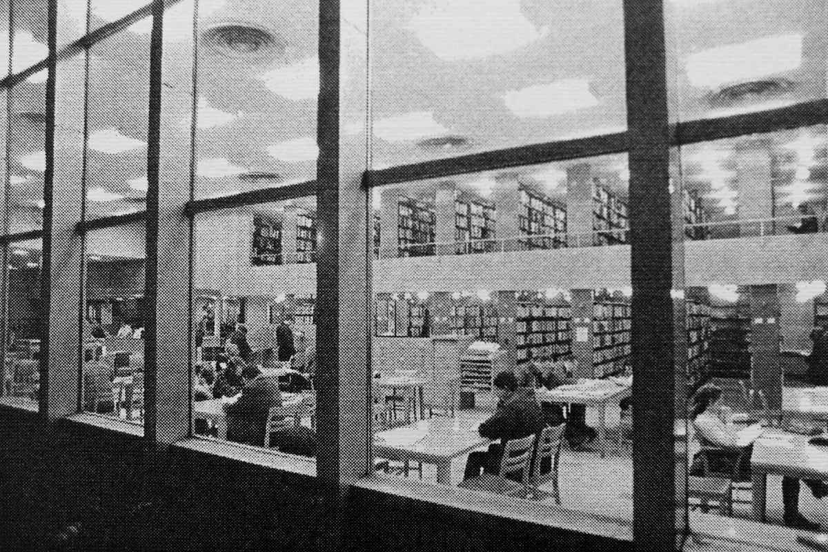 The interior of the Z.J. Loussac Public Library in downtown Anchorage, 1955.  (Anchorage Museum B86-96-143-7a)