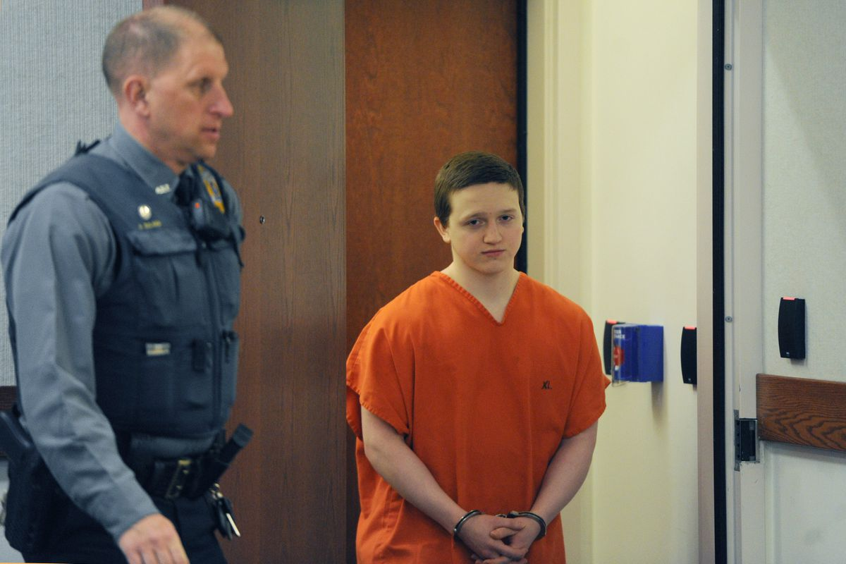 Erick Almandinger, convicted in the 2016 murder of 16-year-old David Grunwald, appeared in Palmer Superior Court for sentencing on Wednesday, March 20, 2019. Almandinger still hasn't been sentenced amid COVID-19 precautions that prevent in-person hearings. (Bill Roth / ADN archive)