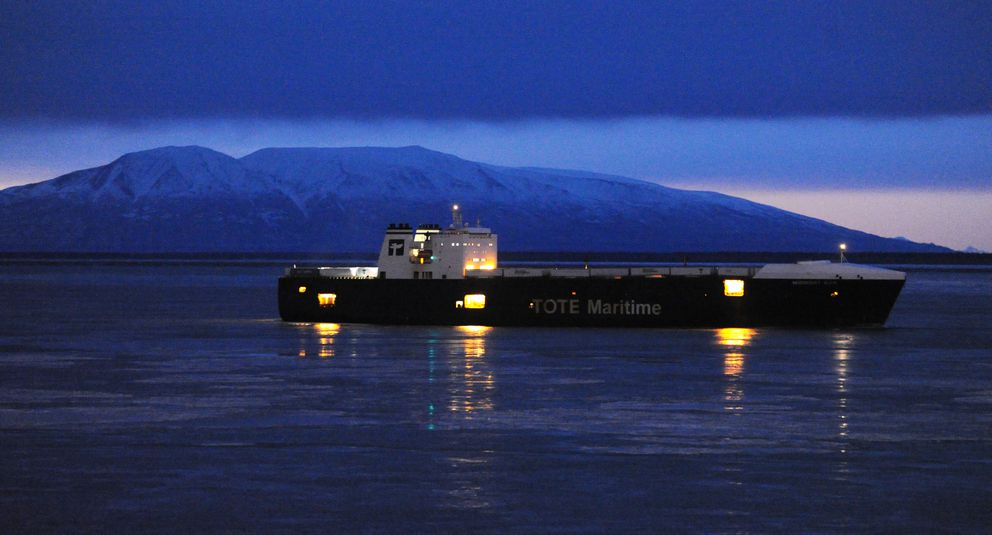 The MV Midnight Sun, a roll-on/roll-off trailer ship operated by Tote Maritime, passes by Point Woronzof on its way to the Port of Alaska on Sunday, Jan. 21, 2018. (Bill Roth / ADN)