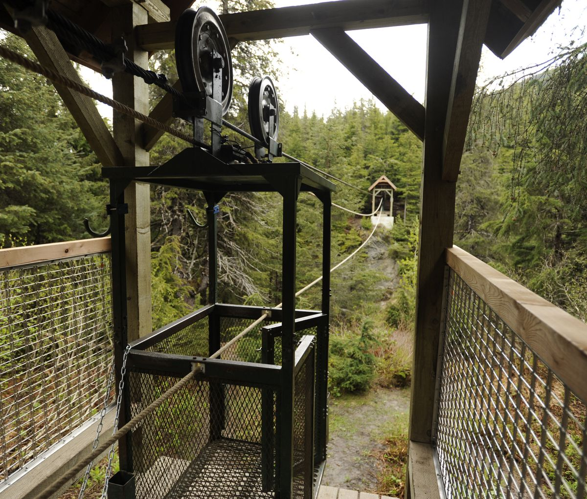 The hand tram that crosses Winner Creek near Girdwood underwent renovations in 2012 to add safety features. (Marc Lester / ADN)