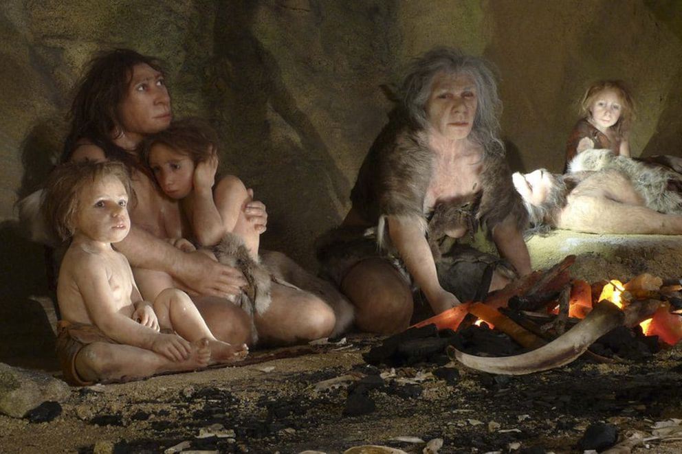 A family in a cave as depicted in an exhibit at Croatia's Neanderthal Museum. (Nikola Solic/Reuters)