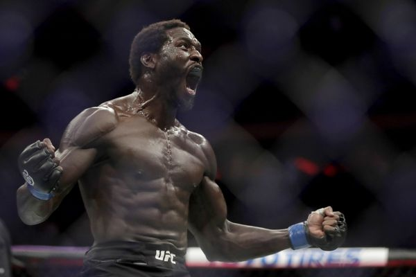 Jared Cannonier reacts after defeating David Branch during the second round of a middleweight mixed martial arts bout at UFC 230, Saturday, Nov. 3, 2018, at Madison Square Garden in New York. (AP Photo/Julio Cortez)