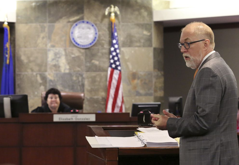 Attorney Todd Bice, representing drug manufacturer, Alvogen, appears before judge Elizabeth Gonzalez the court at the Regional Justice Center during a hearing on Wednesday, July 11, 2018, in Las Vegas. Alvogen filed suit in an effort to stop Nevada using their drugs in the execution of death row inmate Scott Dozier. (Bizuayehu Tesfaye/Las Vegas Review-Journal via AP)
