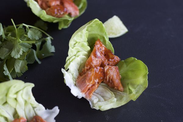 Honey Sriracha salmon lettuce wraps (Maya Wilson / Alaska from Scratch)