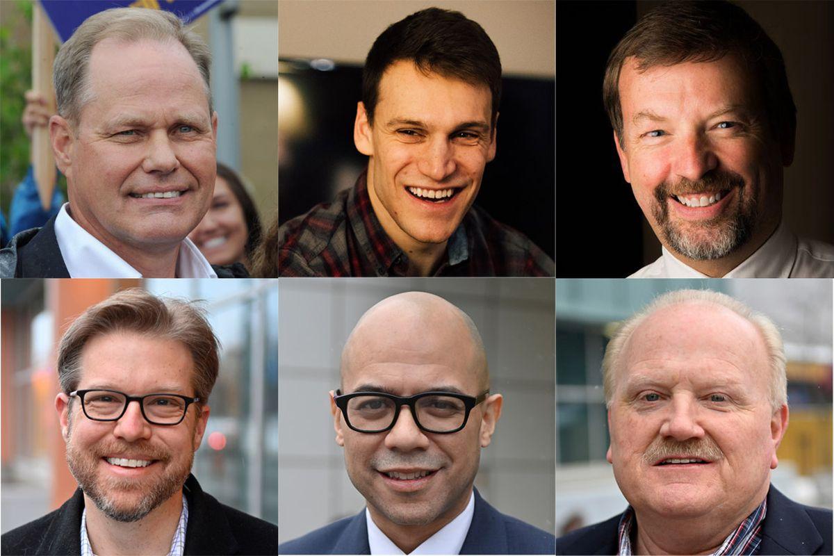 Candidates running for mayor in spring 2021. From upper left: Dave Bronson, Forrest Dunbar, Bill Evans. Bottom left: Bill Falsey, George Martinez, Mike Robbins.