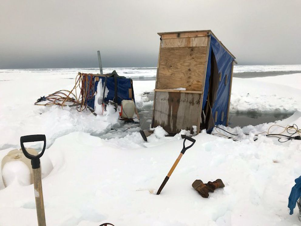 Three men spent hours floating on ice floes off the coast of Nome on Sunday. They were trying to retrieve mining equipment from the ice. (Photo by Phillip Rode)