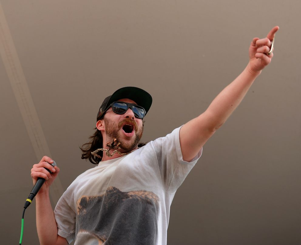Tim Gionet, known as Baked Alaska, performs at the Road To Vans Warped Tour '14 at the Northway Mall in Anchorage on June 11, 2014. (Bob Hallinen / ADN archive)