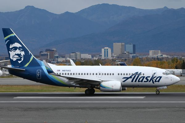 An Alaska Airlines Boeing 737 passenger jet departs from Ted Stevens Anchorage International Airport on Thursday, Oct. 1, 2020. (Bill Roth / ADN)