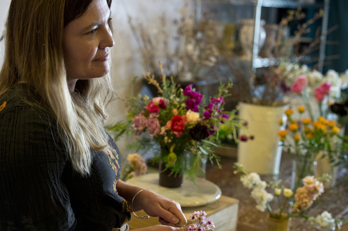 Florist Dallas Wildeve is the owner of Bloomsbury Blooms, located on 4th Avenue in downtown Anchorage. Photographed on March 21, 2018. (Marc Lester / ADN)