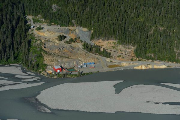 A tailings pond and a disused water treatment plant can be seen in this 2013 photo at the Tulsequah Chief Mine site about 40 miles northeast of Juneau. (Rivers Without Borders)