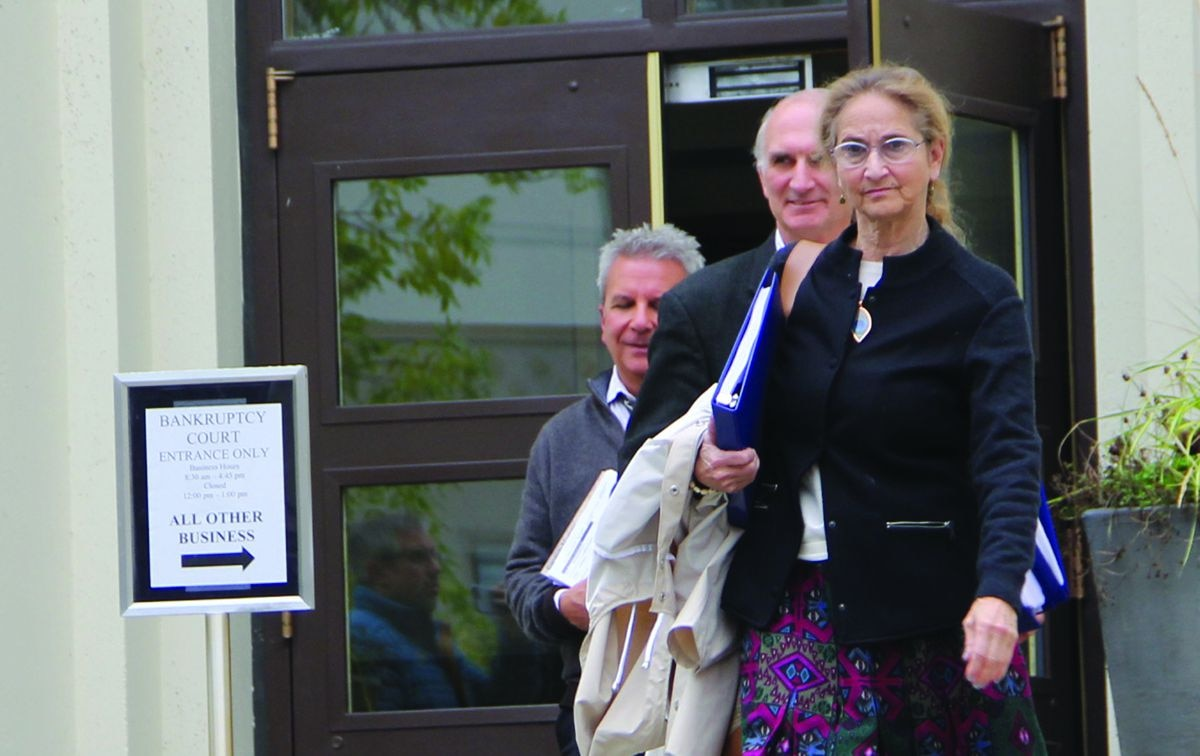 Alice Rogoff leaves a bankruptcy hearing on Sept. 11, 2017, in Anchorage after the sale of the Alaska Dispatch News was approved for $1 million just a month after she filed for bankruptcy protection. All sides have now agreed to a June 4 mediation that could finally resolve the millions in unpaid debts to dozens of creditors. (Photo/Naomi Klouda/AJOC)