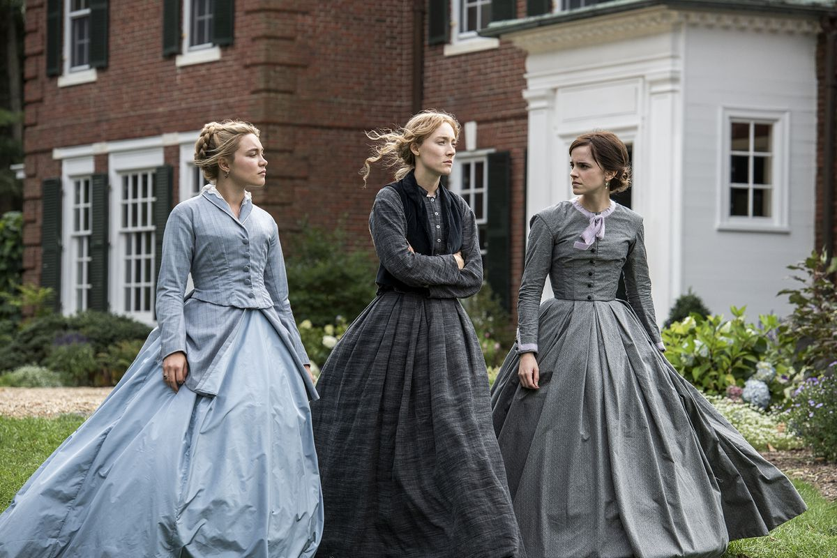 From left, Florence Pugh, Saoirse Ronan and Emma Watson play sisters Amy, Jo and Meg March in