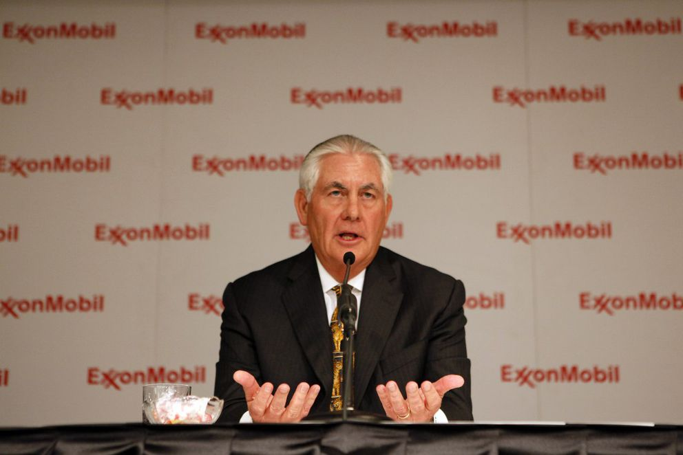 FILE — Rex Tillerson, chairman and chief executive of Exxon Mobil, speaks during a news conference in Dallas, May 25, 2016. (Ben Torres/The New York Times)