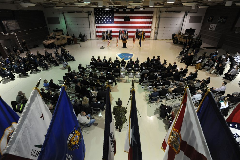 Veterans Day ceremony at the Alaska National Guard armory on Joint Base Elmendorf-Richardson on Sunday, Nov. 11, 2018. (Bill Roth / ADN)