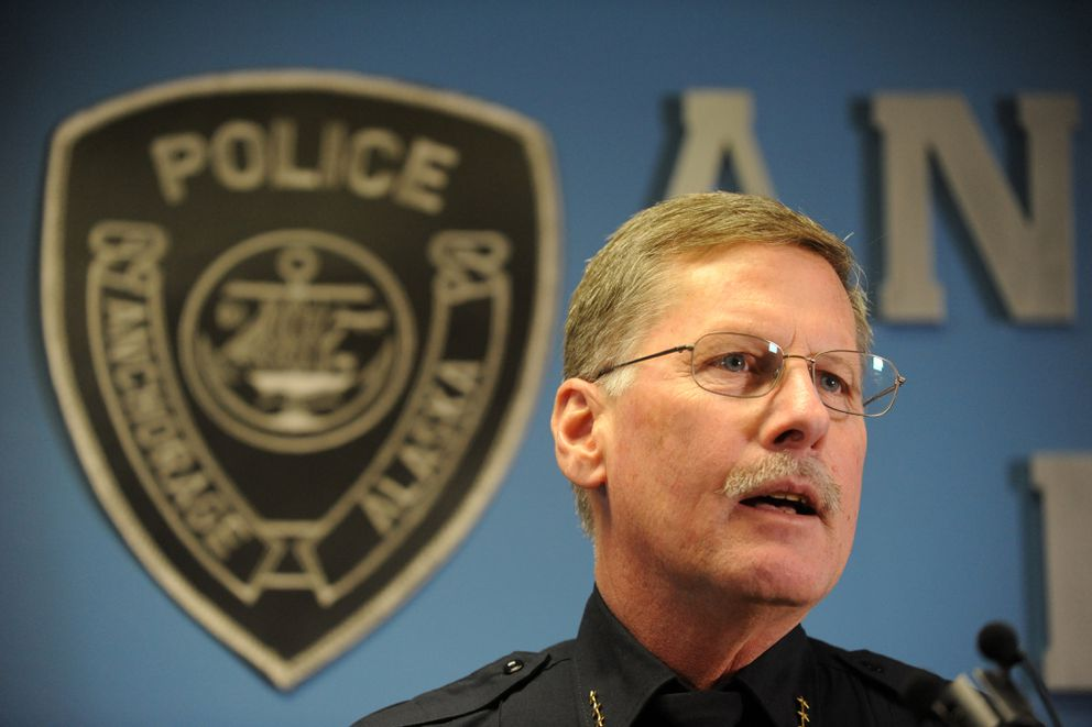 Anchorage Police Department Chief Mark Mew speaks at a press conference at APD headquarters talks about the recent shootings in Anchorage and the departments response to them on Thursday, January 29, 2015. (Bob Hallinen / ADN)