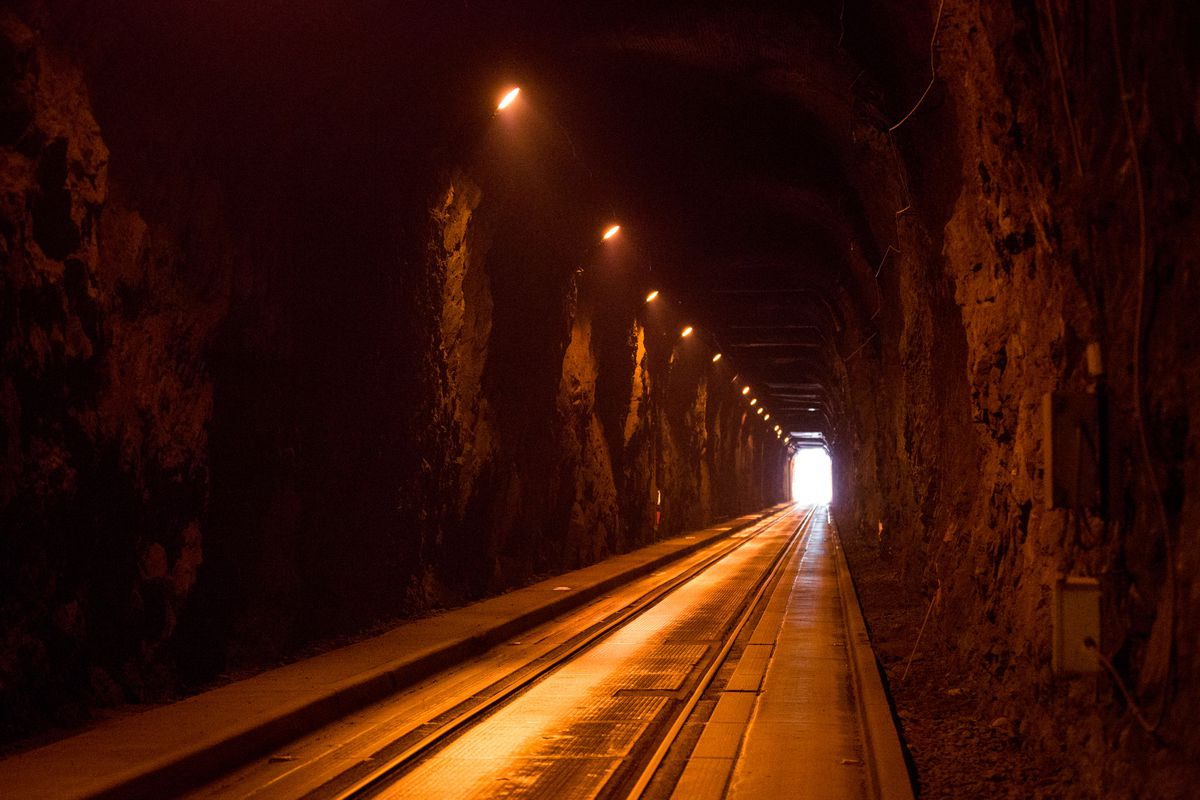 The Anton Anderson Memorial Tunnel, North America's longest combined rail-highway tunnel, on Thursday, June 19, 2014. The tunnel connects the town of Whittier to Portage, and the rest of Alaska. (Loren Holmes / Alaska Dispatch News)