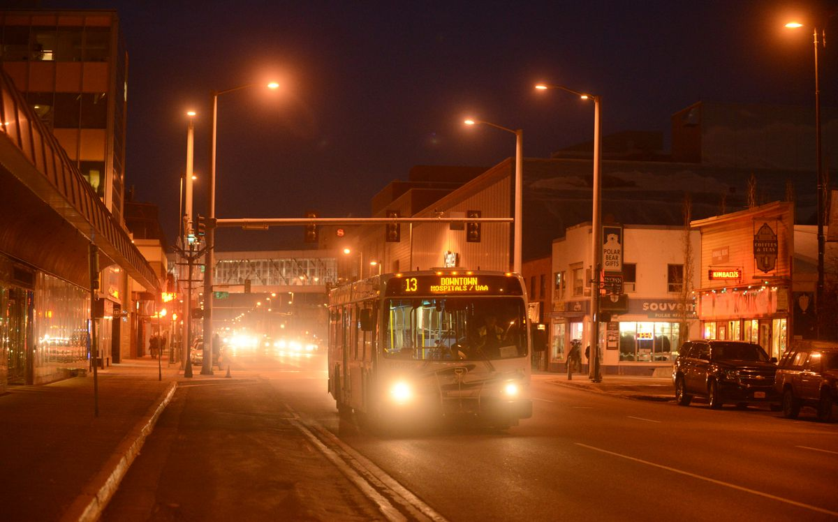 A People Mover bus travels down 5th Ave in Downtown Anchorage, Alaska, on Thursday, November 17, 2016. (Bob Hallinen / Alaska Dispatch News)