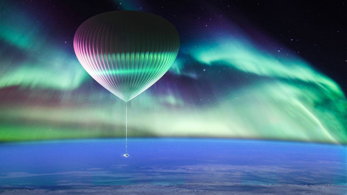 An artist rendering of the Space Perspective Neptune spacecraft viewing the northern lights from the edge of space. (Image courtesy of Alaska Aerospace and Space)
