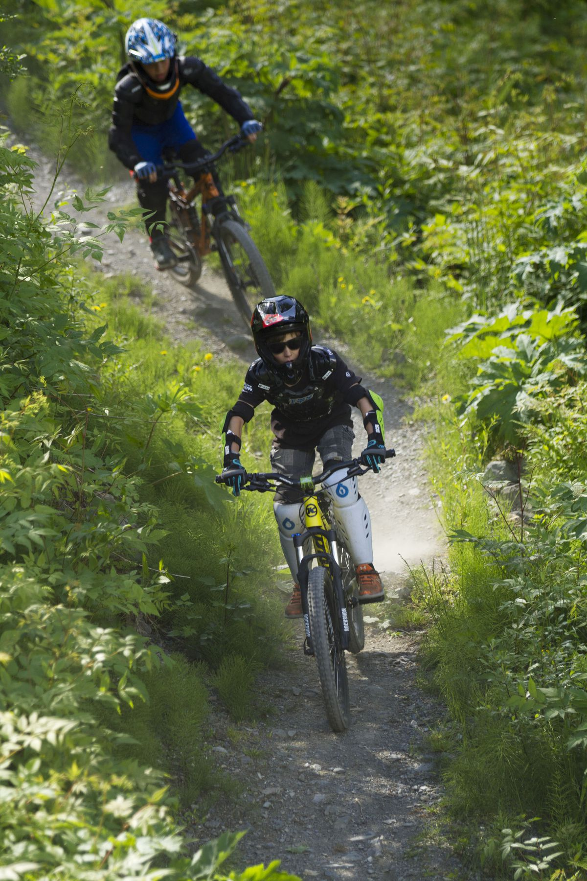 Two boys ride down Big Spruce trail at the Alyeska Bike Park on Friday, June 3, 2016. The age limit for mountain biking at the park is 8 years old. (Sarah Bell / ADN archive 2016)