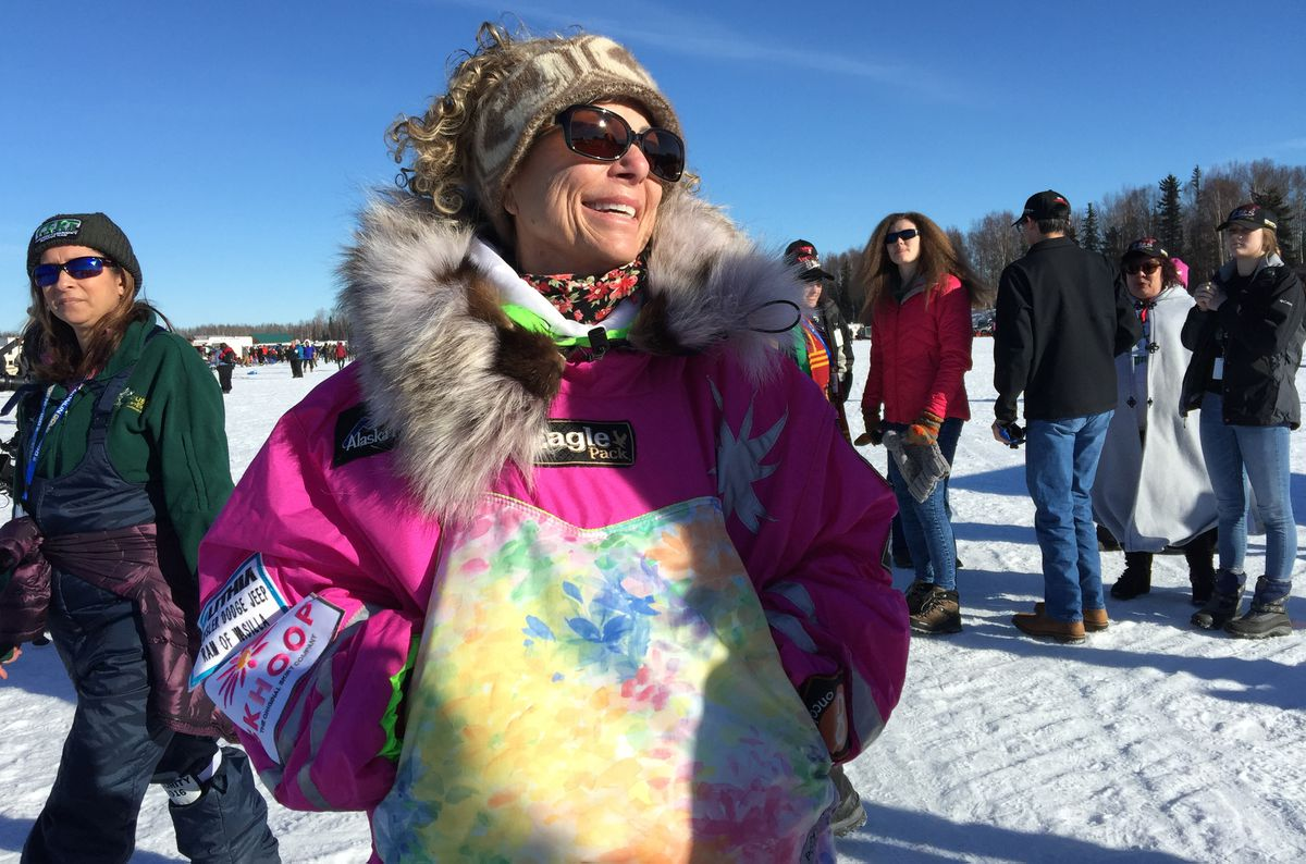 Long-time Iditarod veteran DeeDee Jonrowe at the Williow Restart on Sunday, March 6, 2016 (Bill Roth / Alaska Dispatch News)