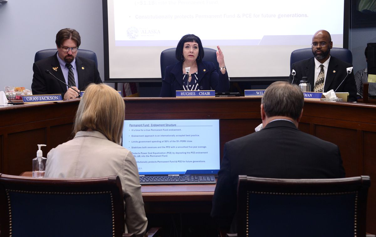 Sen. Shelley Hughes, R-Palmer, presides over a hearing of the Senate Community and Regional Affairs committee on Thursday, May 27, 2021 at the Alaska State Capitol in Juneau. The committee was hearing discussion of Gov. Mike Dunleavy's plan to change the formula for the Permanent Fund dividend. (James Brooks / ADN)