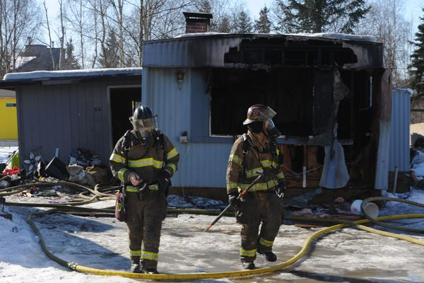 The Anchorage Fire Department responded to a trailer fire in the Malaspina Mobile Home Park just west of Russian Jack Springs Park on Wednesday, March 21, 2018. (Bill Roth / ADN)