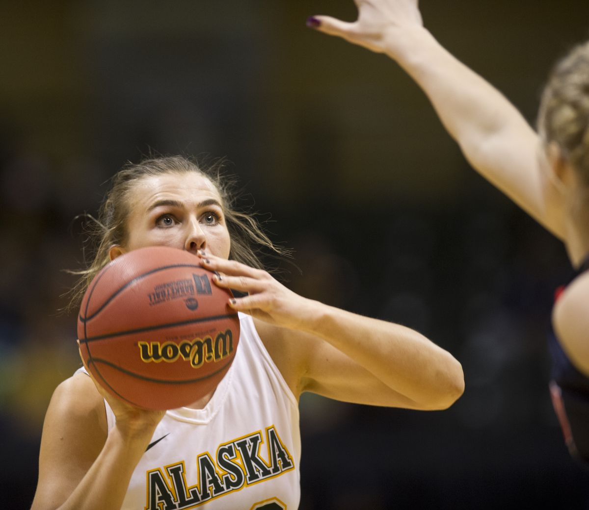 Hannah Wandersee, a junior from Kodiak, is a first-team pick on the GNAC all-conference women's basketball team.  (Marc Lester / ADN)