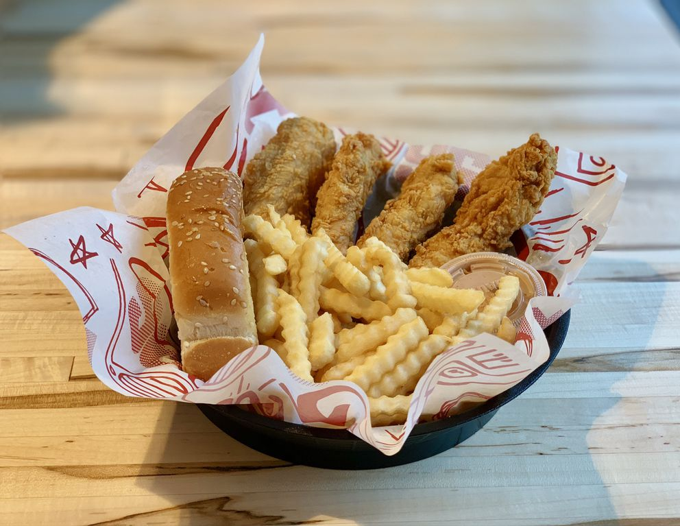 Chicken finger combo basket at Raising Cane's Chicken Fingers. (Joey Carreon/ADN)