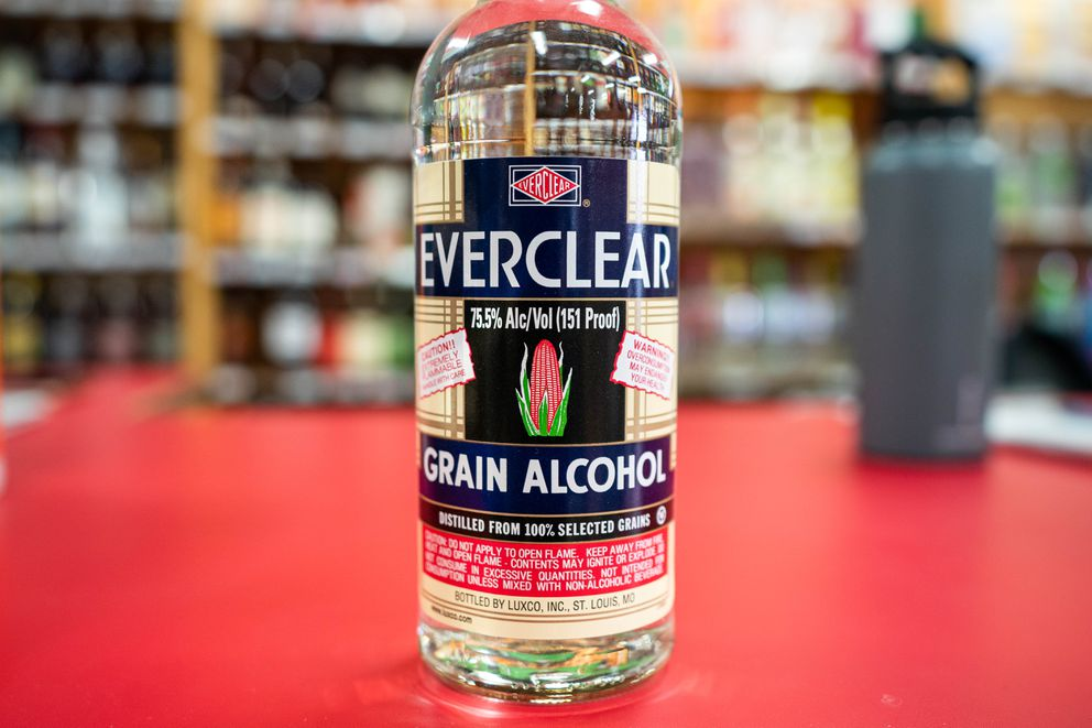 A bottle of Everclear for sale at the Wine House on Minnesota Blvd on Thursday, March 19, 2020. The 75.5% alcohol spirit has been in short supply recently as people buy it to make homemade hand sanitizer. (Loren Holmes / ADN)