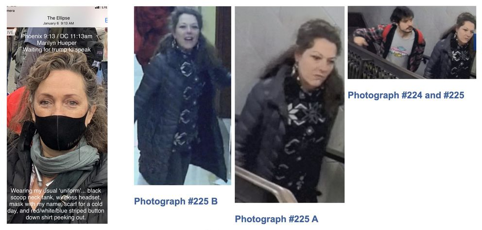This composite photo illustration shows a photograph of Homer resident Marilyn Hueper, left, taken on Jan. 6, 2021 and provided by Hueper, next to two images (on the right) published by the FBI showing an unidentified woman in the U.S. Capitol on the same date. (Photo composite)