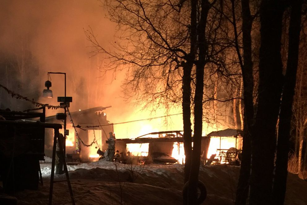 The home of Bill Peterson burned to the ground Wednesday evening in Bird Creek. No one was injured in the blaze. (Robyn Peterson)