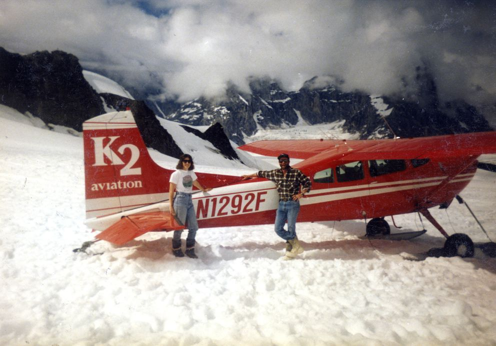 Jim Dore, right, then a pilot with K2 Aviation, with wife Jean on Ruth Glacier in the Sheldon Amphitheater in late June 1991. (Photo courtesy Jim Dore)