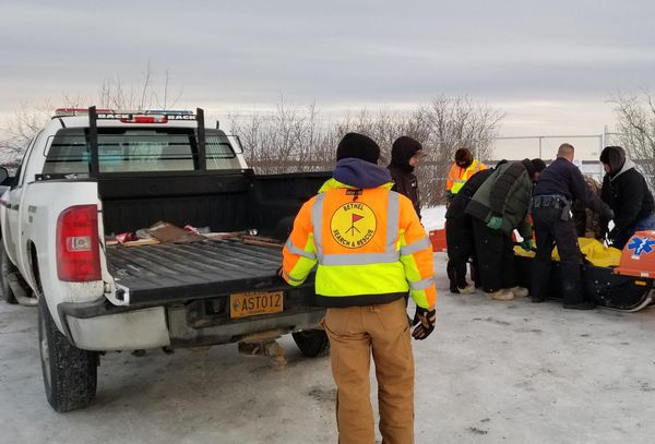 Bethel Search and Rescue releases Mark Kasayulie's body to the Alaska State Troopers near Bethel's Hangar Lake on the afternoon of Jan. 1, 2018. (Perry Barr / Bethel Search and Rescue)