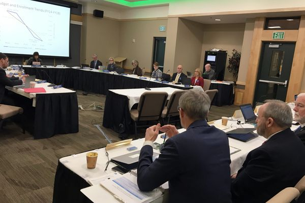 The University of Alaska Board of Regents met at the University of Alaska Anchorage Thursday, Nov 9, 2017. The regents passed an operating budget request, a capital budget request and approved tuition increases. (Tegan Hanlon / Alaska Dispatch News)