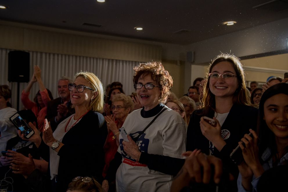 Supporters, volunteers and staff of Mike Levin, a Democratic candidate for Congress in California, wait for results to come in at their headquarters in Oceanside, Calif., June 5, 2018. The Democratic Party skirted disaster in California and lined up likely gains in New Jersey, but Republicans saw some bright signs as well. (Hilary Swift/The New York Times)