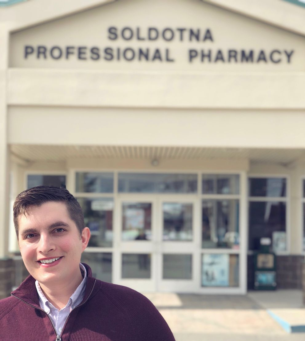 Justin Ruffridge co-owns pharmacies in Soldotna and Juneau. He is shown on Saturday, May 5, 2018, outside his Soldotna pharmacy. (Photo by Cierra Vandehey)