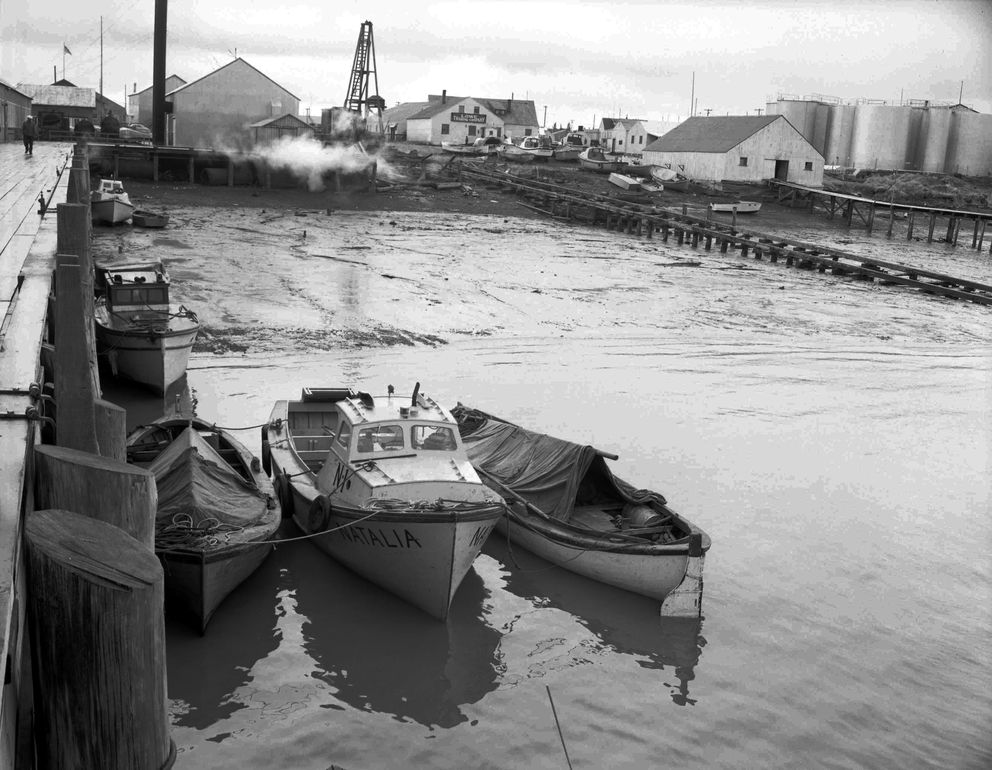 """Natalia"" in the Dillingham Harbor circa 1955. ""Natalia"" was owned by Chief Ivan Blunka of New Stuyahok, and was one of the first Bryant power boats in Bristol Bay. The ""N1"" indicates the boat is operated by an independent Nushagak fisherman. (Steve McCutcheon / Anchorage Museum)"