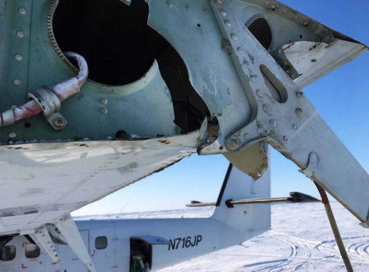 A Bald Mountain Air Service plane taking off from an Arctic ice airstrip March 20, 2018, during a Navy training exercise injured a man by hitting him in the head, causing visible damage to the plane. Now federal investigators say the pilot was at fault. (Photo provided by NTSB)