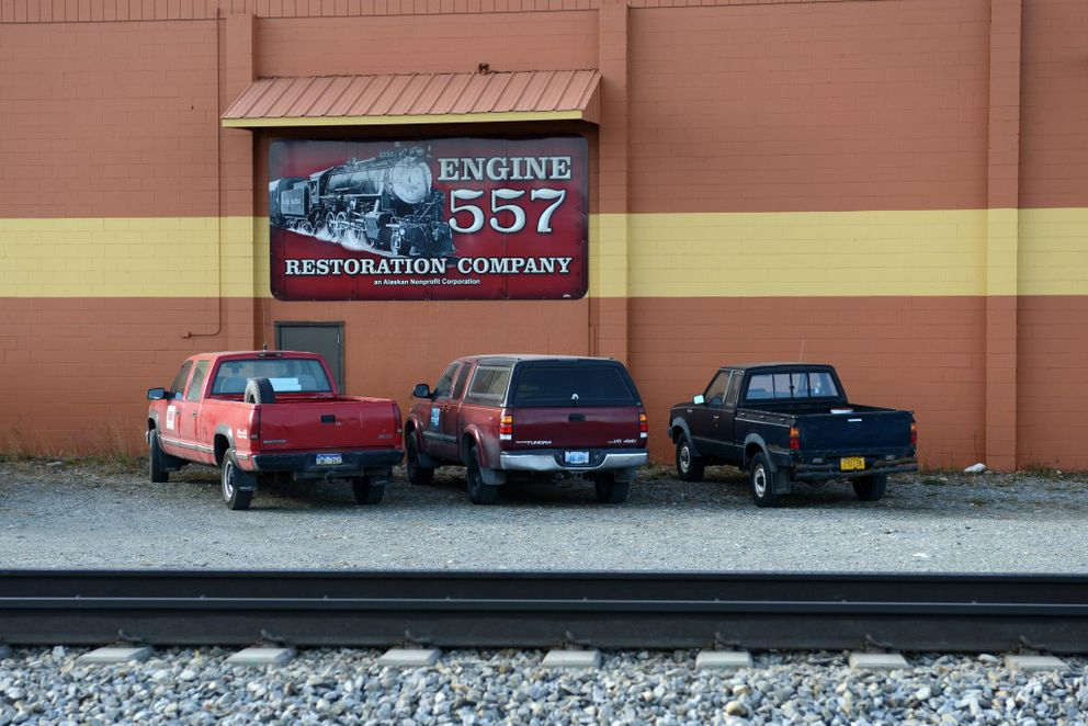 The Engine 557 Restoration Company works in an Alaska Railroad building located alongside tracks in Wasilla. (Erik Hill / Alaska Dispatch News)