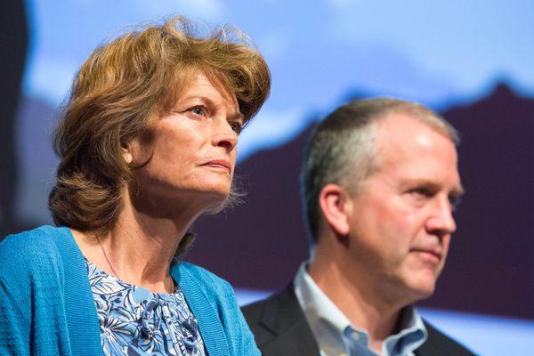 Senators Lisa Murkowski and Dan Sullivan at the Glenn Massay Theater in Palmer on Aug. 4, 2016. (Loren Holmes / Alaska Dispatch News)