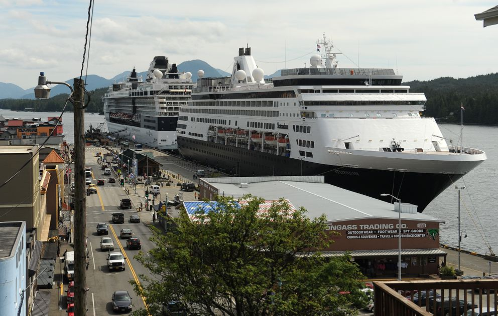 Cruise ships are docked in downtown Ketchikan on July 1, 2015. (Bob Hallinen / Alaska Dispatch News)