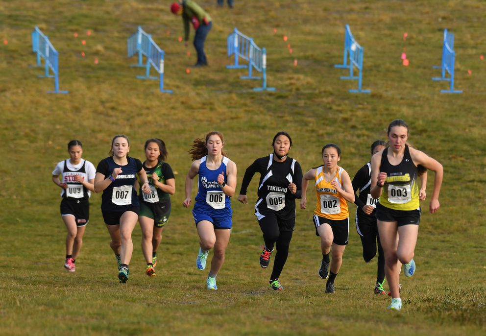The girls start the DIII Alaska state-cross championships at Kincaid Park on Saturday. (Photo by Bob Hallinen)