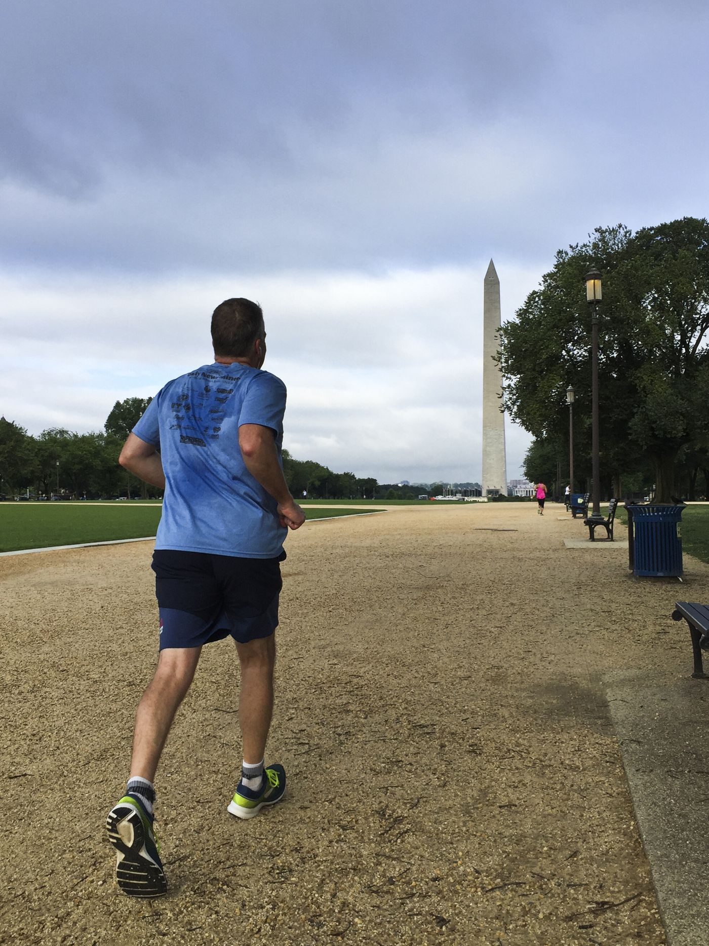 Sen. Dan Sullivan approaches the Washington Monument on the National Mall during a morning run in Washington, D.C., on June 19, 2019. (Marc Lester / ADN)