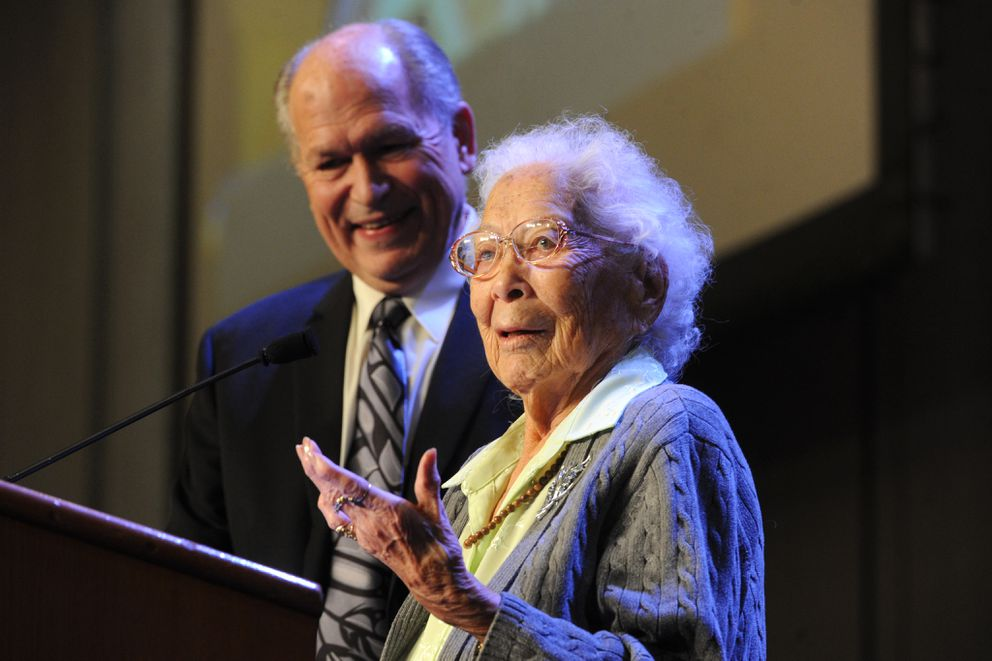 Gov. Bill Walkerwith Poldine Carlo during the The Alaska Federation of Natives Convention on Thursday, Oct. 15, 2015, in Anchorage. (Bill Roth / ADN)