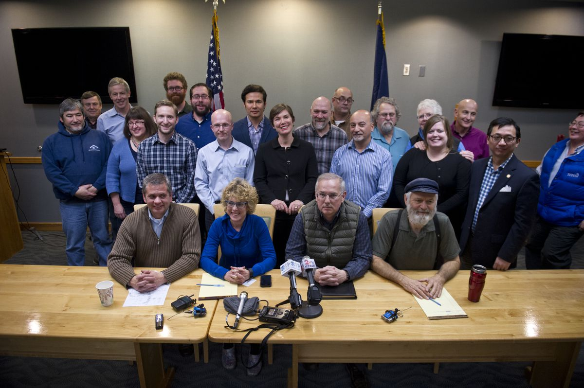 Alaska House members announced a new majority coalition made up of Democrats, Republicans and independents on Wednesday, November 9, 2016, at the Dimond Center Hotel in Anchorage. (Marc Lester / Alaska Dispatch News)