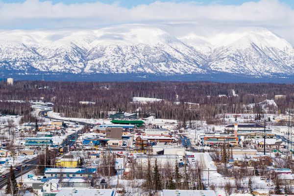 Downtown Wasilla, photographed on Wednesday, March 17, 2021. (Loren Holmes / ADN)